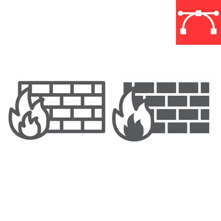 Firewall line and glyph icon, security and protection, flame sign vector graphics, editable stroke linear icon. 스톡 콘텐츠 - 162398035