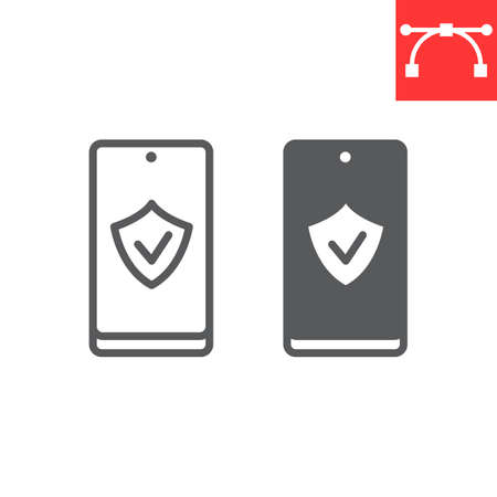Device security line and glyph icon, security and protection, smartphone with shield sign vector graphics, editable stroke linear icon.