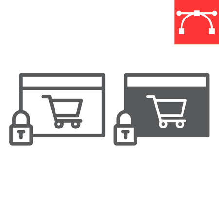 Safe online shopping line and glyph icon, security and browser, shopping cart sign vector graphics, editable stroke linear icon. 일러스트