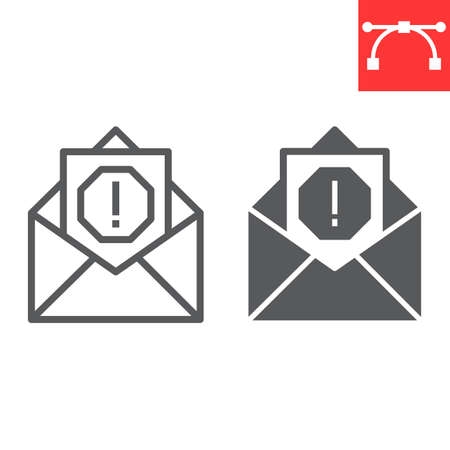 Email virus line and glyph icon, security and mail, spam sign vector graphics, editable stroke linear icon. 일러스트