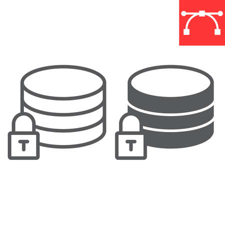 Secure data line and glyph icon, security and computing, database sign vector graphics, editable stroke linear icon.
