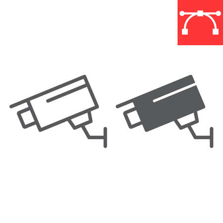 Security camera line and glyph icon, security and cctv, surveillance camera sign vector graphics, editable stroke linear icon.