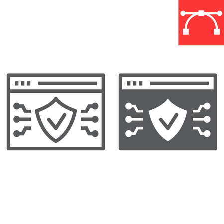 Web browser protection line and glyph icon, security and shield, web antivirus sign vector graphics, editable stroke linear icon. 일러스트