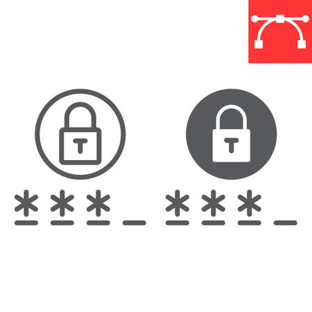 Password line and glyph icon, security and lock, padlock sign vector graphics, editable stroke linear icon.