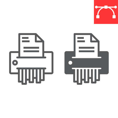Paper shredder line and glyph icon, security and paperwork, document shredder sign vector graphics, editable stroke linear icon. 일러스트