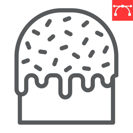 Easter cake line icon, sweet and holiday, traditional easter cake vector icon, vector graphics, editable stroke outline sign.
