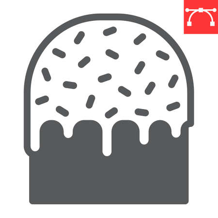 Easter cake glyph icon, sweet and holiday, traditional easter cake vector icon, vector graphics, editable stroke solid sign.