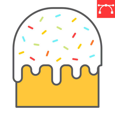 Easter cake color line icon, sweet and holiday, traditional easter cake vector icon, vector graphics, editable stroke filled outline sign.