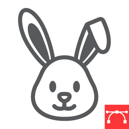 Easter rabbit line icon, funny and holiday, easter bunny vector icon, vector graphics, editable stroke outline sign.