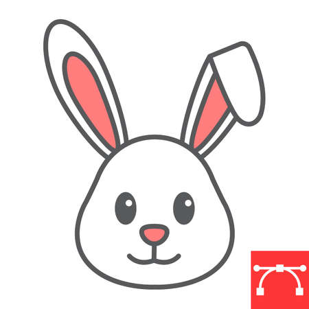 Easter rabbit color line icon, funny and holiday, easter bunny vector icon, vector graphics, editable stroke filled outline sign.