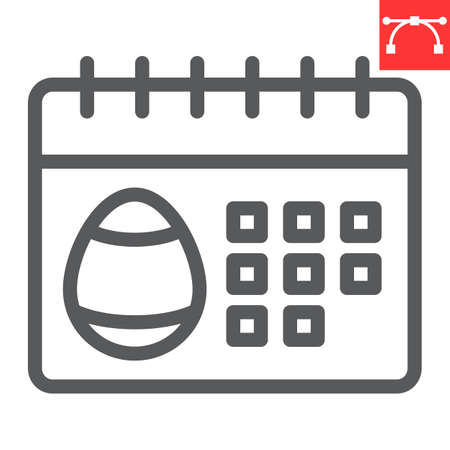 Easter calendar line icon, Happy Easter and holiday, calendar vector icon, vector graphics, editable stroke outline sign. 일러스트
