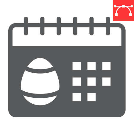 Easter calendar glyph icon, Happy Easter and holiday, calendar vector icon, vector graphics, editable stroke solid sign.