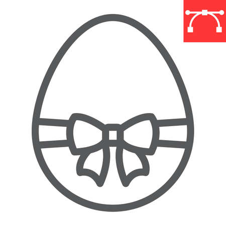 Easter egg with ribbon line icon, Happy Easter and holiday, easter egg with ribbon vector icon, vector graphics, editable stroke outline sign.