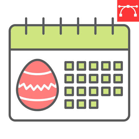 Easter calendar color line icon, Happy Easter and holiday, calendar vector icon, vector graphics, editable stroke filled outline sign.