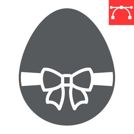 Easter egg with ribbon glyph icon, Happy Easter and holiday, easter egg with ribbon vector icon, vector graphics, editable stroke solid sign.