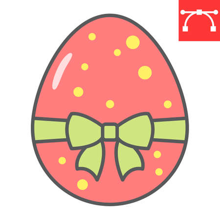 Easter egg with ribbon color line icon, Happy Easter and holiday, easter egg with ribbon vector icon, vector graphics, editable stroke filled outline sign. 일러스트