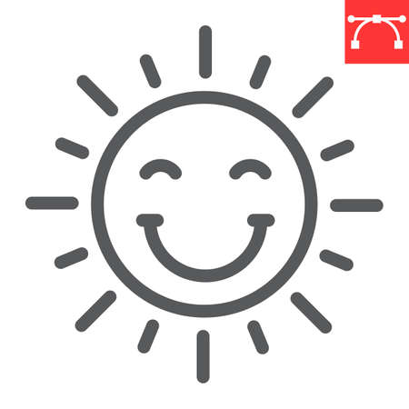 Smiling sun line icon, Happy Easter and holiday, sun smile vector icon, vector graphics, editable stroke outline sign.