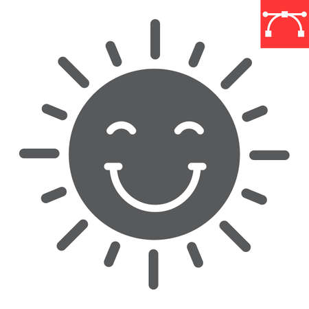 Smiling sun glyph icon, Happy Easter and holiday, sun smile vector icon, vector graphics, editable stroke solid sign. 일러스트