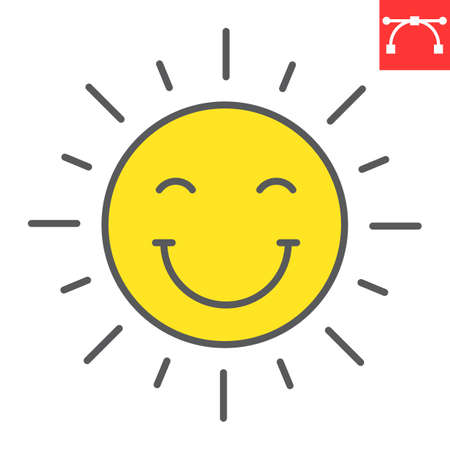 Smiling sun color line icon, Happy Easter and holiday, sun smile vector icon, vector graphics, editable stroke filled outline sign.