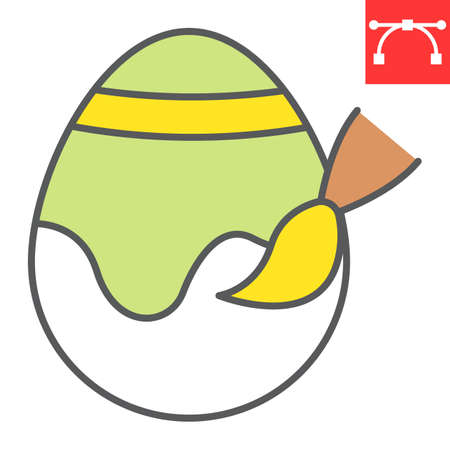 Painting easter egg line icon, Happy Easter and holiday, easter egg decoration vector icon, vector graphics, editable stroke filled outline sign.