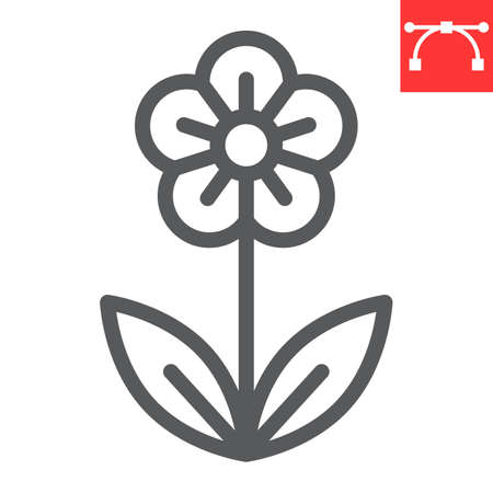 Flower line icon, Happy Easter and spring, flower vector icon, vector graphics, editable stroke outline sign. 일러스트