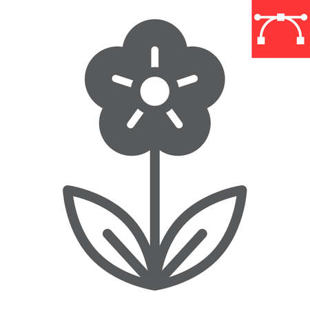 Flower glyph icon, Happy Easter and spring, flower vector icon, vector graphics, editable stroke solid sign. 일러스트