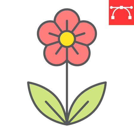 Flower color line icon, Happy Easter and spring, flower vector icon, vector graphics, editable stroke filled outline sign. 일러스트