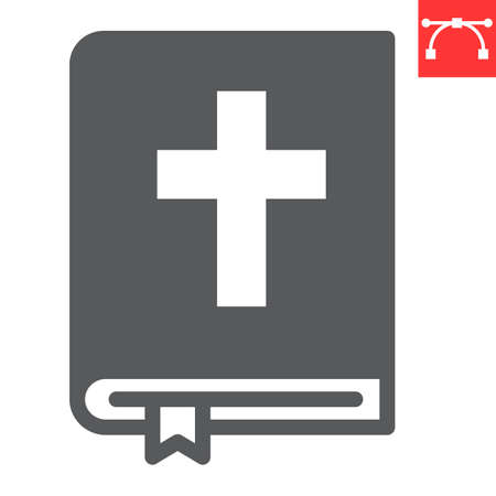 Holy bible glyph icon, Happy Easter and god, bible book vector icon, vector graphics, editable stroke solid sign.