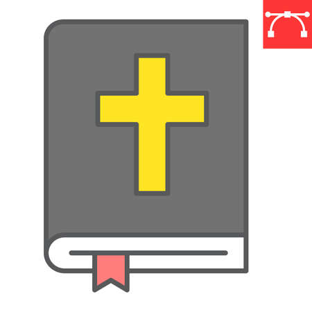 Holy bible color line icon, Happy Easter and god, bible book vector icon, vector graphics, editable stroke filled outline sign.