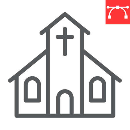 Church line icon, building and god, church vector icon, vector graphics, editable stroke outline sign.