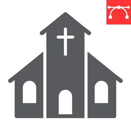 Church glyph icon, building and god, church vector icon, vector graphics, editable stroke solid sign.