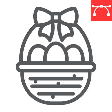 Easter basket with eggs line icon, Happy Easter and holiday, basket with easter eggs vector icon, vector graphics, editable stroke outline sign.
