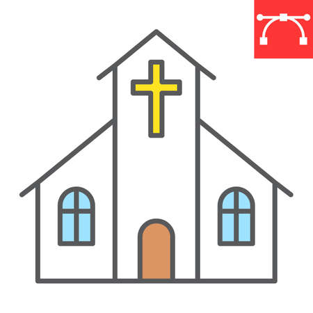 Church color line icon, building and god, church vector icon, vector graphics, editable stroke filled outline sign.