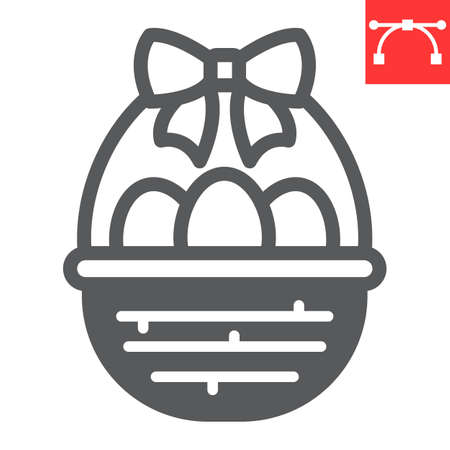 Easter basket with eggs glyph icon, Happy Easter and holiday, basket with easter eggs vector icon, vector graphics, editable stroke solid sign.