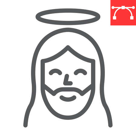 Jesus line icon, Happy Easter and christmas, jesus christ vector icon, vector graphics, editable stroke outline sign. 일러스트