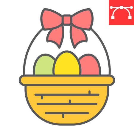 Easter basket with eggs color line icon, Happy Easter and holiday, basket with easter eggs vector icon, vector graphics, editable stroke filled outline sign. 일러스트