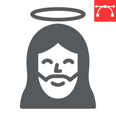 Jesus glyph icon, Happy Easter and christmas, jesus christ vector icon, vector graphics, editable stroke solid sign.