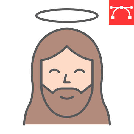 Jesus color line icon, Happy Easter and christmas, jesus christ vector icon, vector graphics, editable stroke filled outline sign.