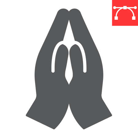 Praying hands glyph icon, religion and namaste, hands folded in prayer vector icon, vector graphics, editable stroke solid sign. 일러스트