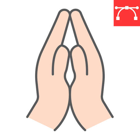 Praying hands color line icon, religion and namaste, hands folded in prayer vector icon, vector graphics, editable stroke filled outline sign.