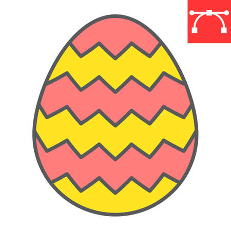 Easter egg color line icon, Happy Easter and holiday, egg vector icon, vector graphics, editable stroke filled outline sign.