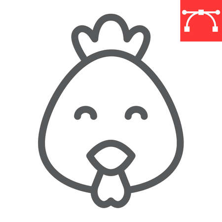 Cute chicken line icon, poultry and hen, chick vector icon, vector graphics, editable stroke outline sign.
