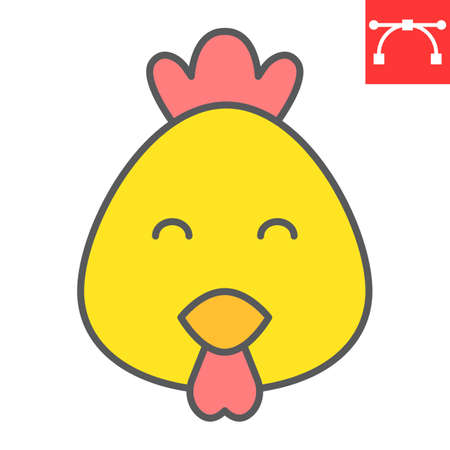 Cute chicken color line icon, poultry and hen, chick vector icon, vector graphics, editable stroke filled outline sign. 스톡 콘텐츠 - 162398162