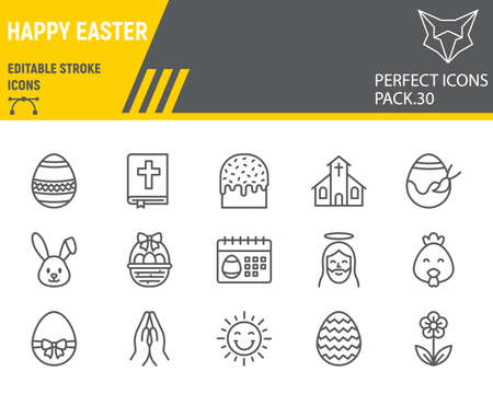 Happy Easter line icon set, holiday collection, vector graphics,  Easter vector icons, celebration signs, outline pictograms, editable stroke.