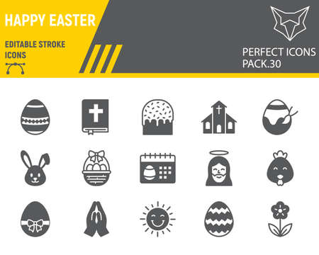 Happy Easter glyph icon set, holiday collection, vector graphics,  Easter vector icons, celebration signs, solid pictograms, editable stroke.