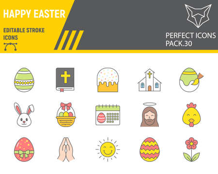 Happy Easter color line icon set, holiday collection, vector graphics, Easter vector icons, celebration signs, filled outline pictograms, editable stroke.