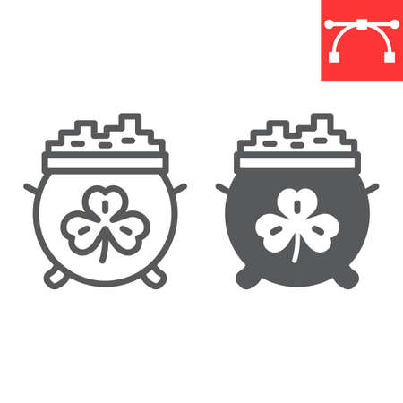 Cauldron with coins line and glyph icon, St. Patrick's day and holiday, pot with gold vector icon, vector graphics, editable stroke outline sign.