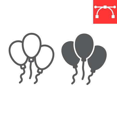 Party balloons line and glyph icon, St. Patrick's day date and holiday, balloon vector icon, vector graphics, editable stroke outline sign.