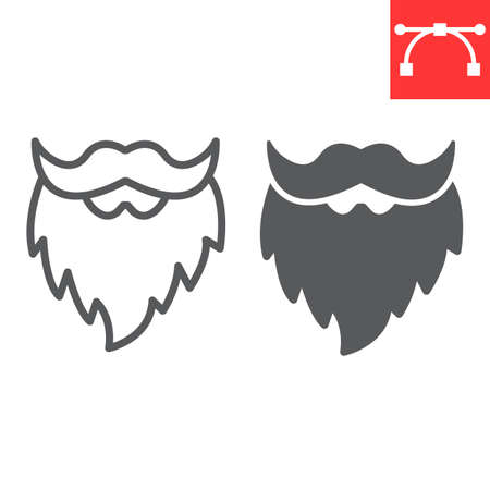 Leprechaun beard line and glyph icon, St. Patrick's day and holiday, mustache with beard vector icon, vector graphics, editable stroke outline sign.