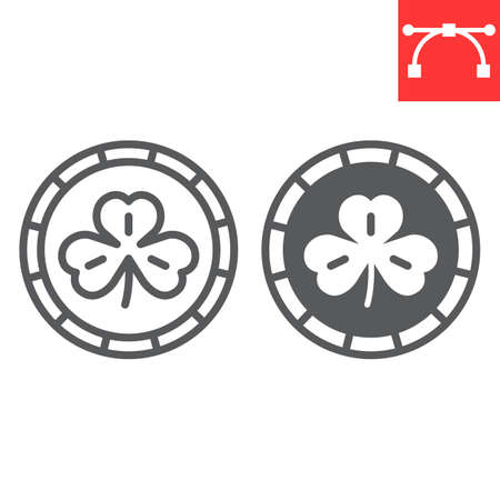 Coin with three leaf clover line and glyph icon, St. Patrick's day and holiday, golden coin with clover vector icon, vector graphics, editable stroke outline sign.